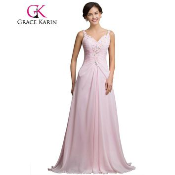 Grace Karin Long Pink Prom Dress Under 50 V Neck Beading Sequin Spaghetti Strap Formal Evening Gowns Special Occasion Dress 2017