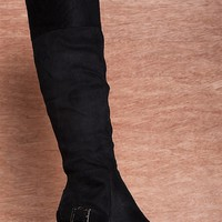 Natures Breeze In Charge Irma Tall Faux Suede Knee High Wedge Boots - Black