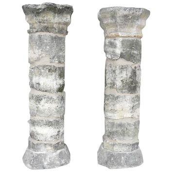 Pair of 17th Century Limestone Columns from a Property in Montpellier, France