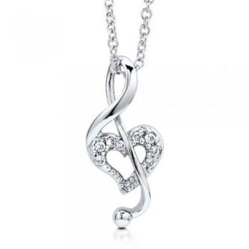 Sterling Silver Cubic Zirconia CZ Heart Music Note Pendant Necklace #n912