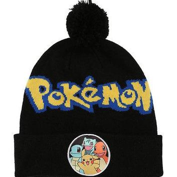 Pokemon Pikachu Squirtle Charmander Bulbasaur Pom Beanie Cap Hat Costume Cosplay