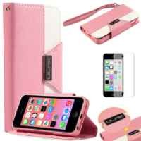 iPhone 5C Fashion Designer Colorful PU Leather Wallet Case with Credit Card Slots & Holder (Rose+Yellow+Pink)
