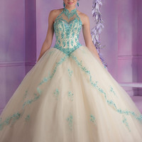 Hot Sale High Neck Royal Blue Puffy Quinceanera Dresses Appliques Backless Sexy Long Sweet 16 Dresses Cheap Beading Prom Dress