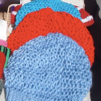 Hand Knit Beehive beret/hat Slouchy Beanie All Season Fashion Accessories/ Chunky Women Hat in TURQUOISE Red, Blue Ready to be shipped TODAY
