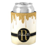 Glam Faux Gold Glitter Drip Monogrammed Can Cooler
