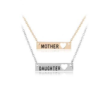 Minimalist Bar Necklace Mother and Daughter Open Heart Pendant Necklace