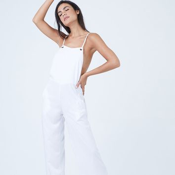 Deeragun Wide Leg Overalls Jumpsuit - White