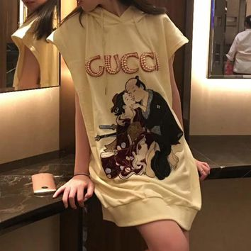 """Gucci"" Women Loose Casual Fashion Pearl Letter Retro Embroidery Sleeveless Hooded Sweater Dress"