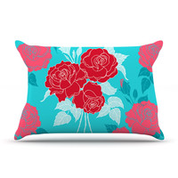 "Anneline Sophia ""Summer Rose Red"" Blue Aqua Pillow Sham"