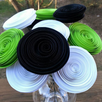 Paper Flower Bouquet - 10 Lime, Black and White Paper Flowers  - Handmade Paper Flowers for Brides, Weddings, Showers, Birthdays
