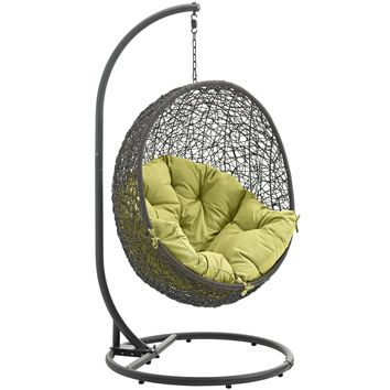 Hide Outdoor Patio Swing Chair With Stand Gray Peridot EEI-2273-GRY-PER