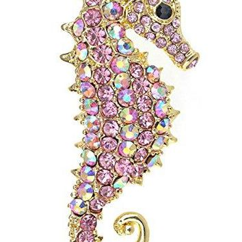 Alilang Aurora Borealis Crystal Rhinestone Seahorse Fish Convertible to Pendant Animal Brooch Pin