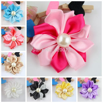 "20 Pcs/lot 2.5"" Boutique Satin Flower,Handmade Millinery Flower,Fabric Flower Applique For DIY,Flat Back Flower Free Shipping"