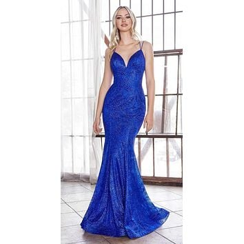 Long Fitted Mermaid Dress Royal Blue Glitter Print Details Lace Up Back