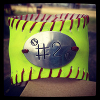 Softball Bracelet with Handstamp of jersey number by BELOdesigns