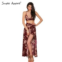 Simplee Apparel two pieces set floral print women split long dress vestidos de fiesta Summer boho sexy backless maxi dresses