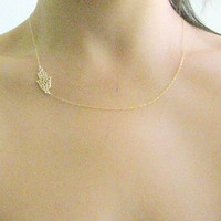 Gold necklace, Hamsa gold necklace, hamsa necklace, sideways hamsa, gold hamsa necklace, thin delicate, dainty necklace, gold filigree