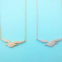 Lovely, Beach, Seagull, Necklace, Gold/ Silver, Small, Dainty, Jewelry