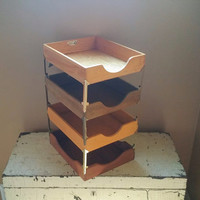 Vintage Wood Four Tier Letter Tray Industrial Decor