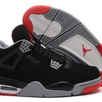PEAPONVX Jacklish Air Jordan 4 (iv) Retro Bred Black/cement Grey-fire Red