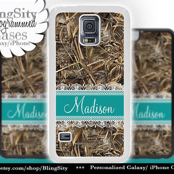 Camo Turquoise Lace Monogram Galaxy S5 S6 case S4 Tree Camo Custom Name Hunting Personalized Galaxy S3 Case Note 2 3 Cover Country Girl