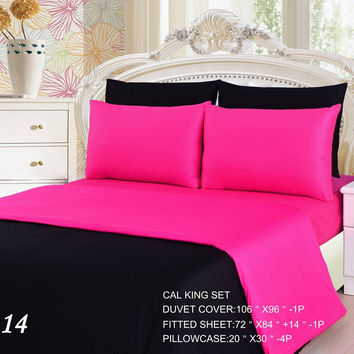 Tache 4-6 Piece Pink Superstar/ Black Reversible Duvet Cover Set