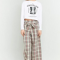 Urban Renewal Vintage Remnants High Waisted Checked Beige Trousers - Urban Outfitters