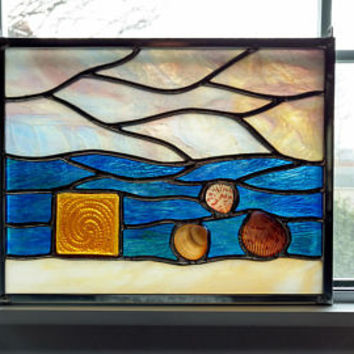 Sea Life Stained Glass Panel - Stained Glass Window - Suncatcher - Beach Decor - Coastal Decor - Sea Shells - Ocean - Sunset - Seascape