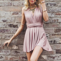 Pink DeepV Neck Homecoming Dress, Bowknot Short Strapless Homecoming Dress