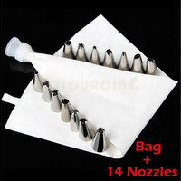 Icing Piping Nozzles Set 6/14 Steel Nozzles + Cake Icing Piping set Bag + Coupler [8045584839]