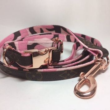 Louis Vuitton Dog Collar and Leash, LV Floral Pattern, Pink Camouflage nylon, Upcycled, Recycled, Repurposed, Authentic LV bags used ONLY