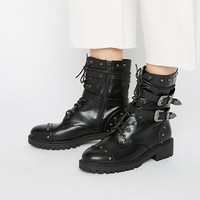 Daisy Street Lace Up Strap Chunky Flat Ankle Boots at asos.com