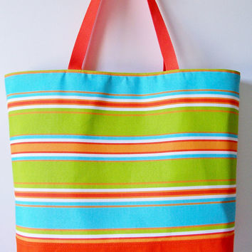 SUMMER Large Orange Turquoise Lime Green Stripe Tote/Purse/Beach Pool Bag/Diaper/Carry All/Vacation/Travel