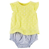Baby Girl Carter's Polka-Dot Top & Striped Bloomers Set