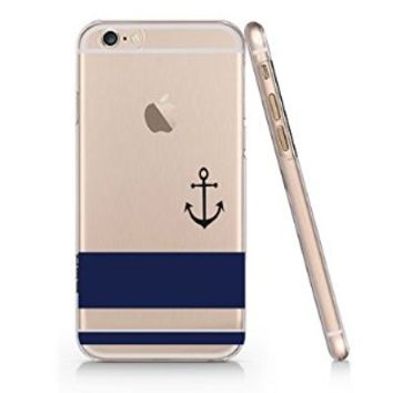Blue Striped Anchor Pattern Slim Iphone 6 Case, Clear Iphone 6 Case Plastic Hard Case Unique Design-Quindyshop (AMSL82)