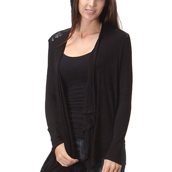 Draped Open Front Cardigan W/ Faux Leather Trim
