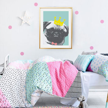 Pug King Lovely Poster, Dog Illustration, Nursery Decor, Pug Art, Pug Print, Dog Art Print, Nursery Wall Art.
