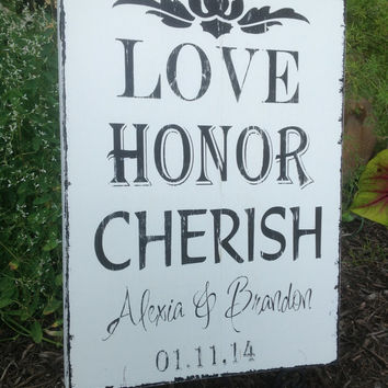 Personalized Wedding - Vows, Love sign, Love Honor Cherish, Wedding Gift , Castle Inn Designs - Special Dates