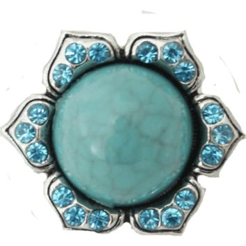 Chunk Snap Charm Turquoise Center Flower