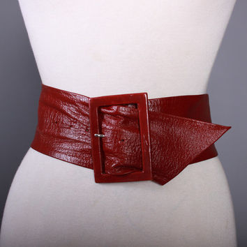 Vintage LEATHEROCK Wide BURGUNDY BELT / 1990s Wide Buttery Soft Pebbled Leather Cinch Belt