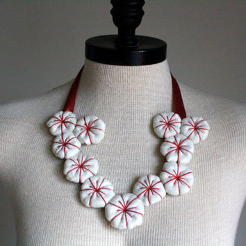 Unique Fabric Statement Pin Cushion Inspired Necklace Upcycled, red thread on white fabric