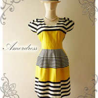 NEW DESIGN ...Amor Vintage Inspired Vintage Retro Chic BlueBanana Yellow Stripe Chilling Party Dress Everyday Dress -Size M-