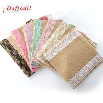 2017 New country Wedding home party Dinning Room Restaurant Table Decoration rustic Vintage Lace Jute burlap linen Table Runner