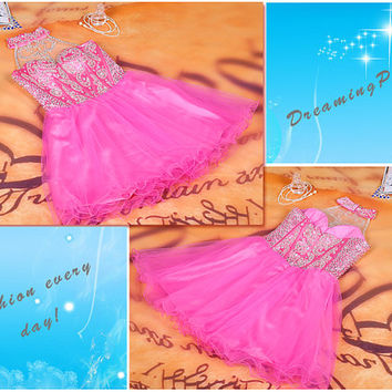 Pink halter homecoming dress, pink cocktail dress, short prom dress, dress for junior, halter fashion dress, halter short evening dress