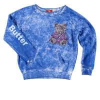 Butter Kids Foam Hippie Teddy Raglan - Blue