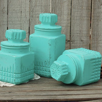 Canister Set, Shabby Chic, Aqua, Turquoise, Blue, Pressed Glass, Hand Painted, Distressed, Rustic, Kitchen, Decor, Storage