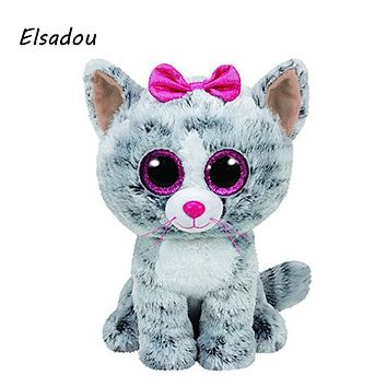 Elsadou Ty Beanie Boos Stuffed & Plush Animals Gray Cat With Bow Toy Doll