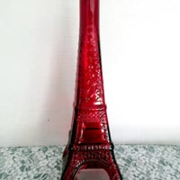 Eiffel Tower Tall Red Carved Decorative Bottle Vintage Collectible Gift Item 2309