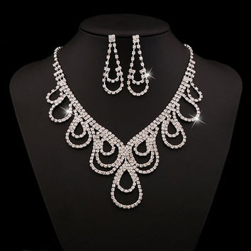 White V-Shaped Rhinestoned Water Drop Necklace and Earrings