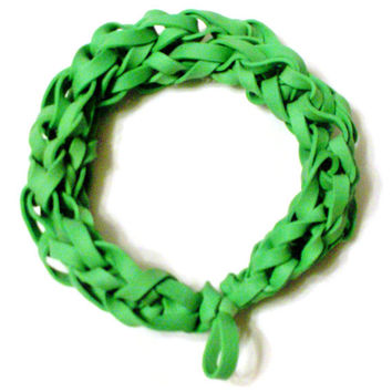 Green Rubber Band Bracelet - Go Green - Upcycled Rubber Jewelry - St. Patrick's Day Party Favor / Gift for Kids, Teens, and Adults